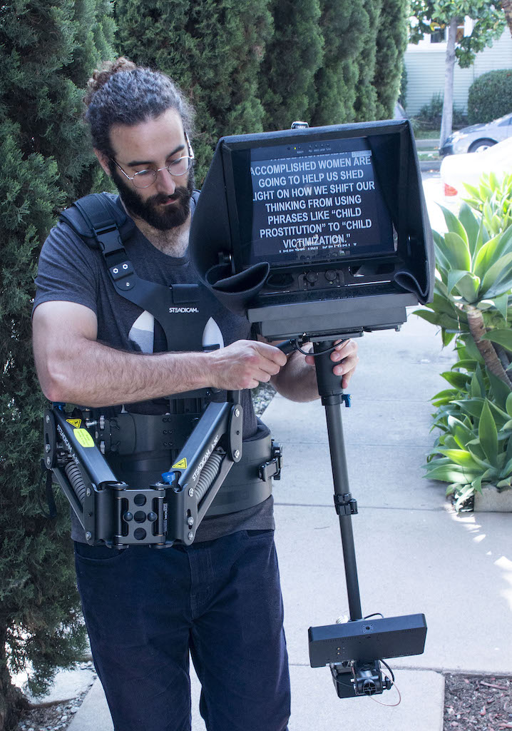 SteadiCam Teleprompter Operator - bearded guy